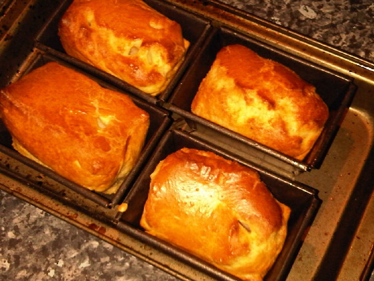 Yorkshire Puddings in mini loaf tins.