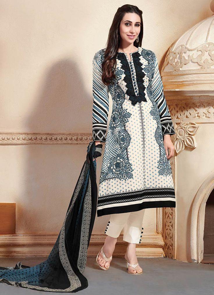 Cream Cotton Karishma Kapoor Straight Suit