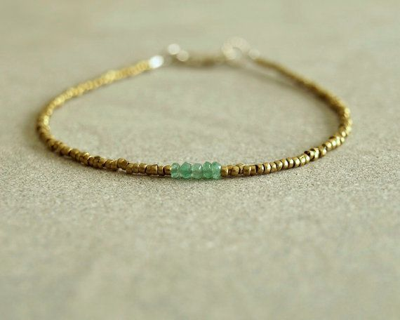 Minimalist Emerald Bracelet natural genuine by bluegreenjewels, $35.00