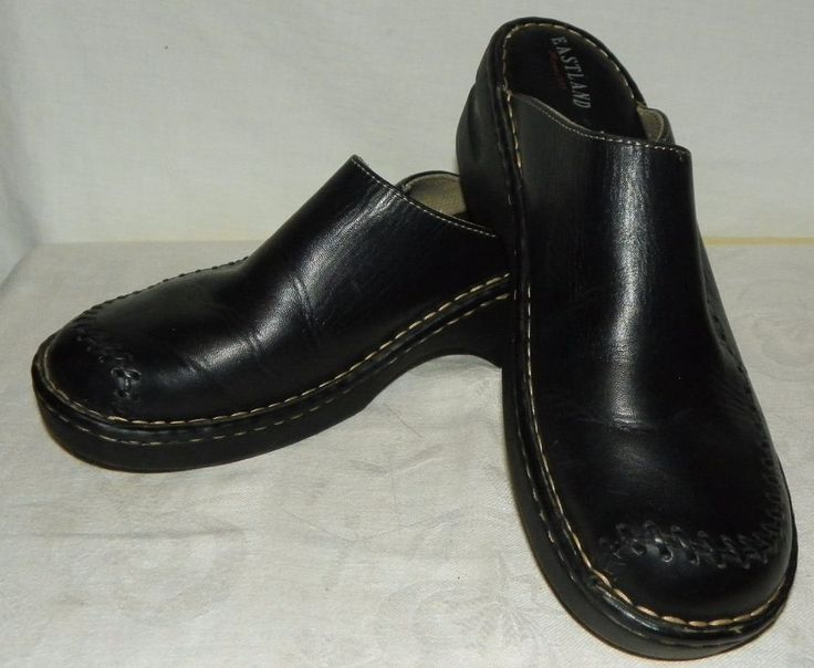 Eastland Black Leather Slip On Mules Shoes Womens Size 11 Medium #Eastland #Mules #Casual