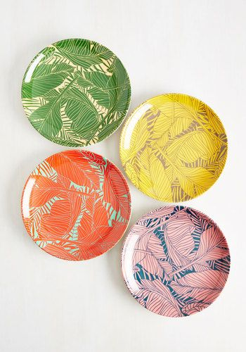 Let's Be Fronds Plate Set - Multi, Print, Daytime Party, Beach/Resort, Statement, Spring, Summer, Orange, Yellow, Green, Pink, Floral, Wedding, Green