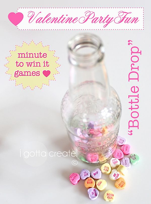 Use a soda bottle and Conversation Hearts to adapt this Minute to Win It game for Valentine parties! | see more at http://igottacreate.blogspot.com