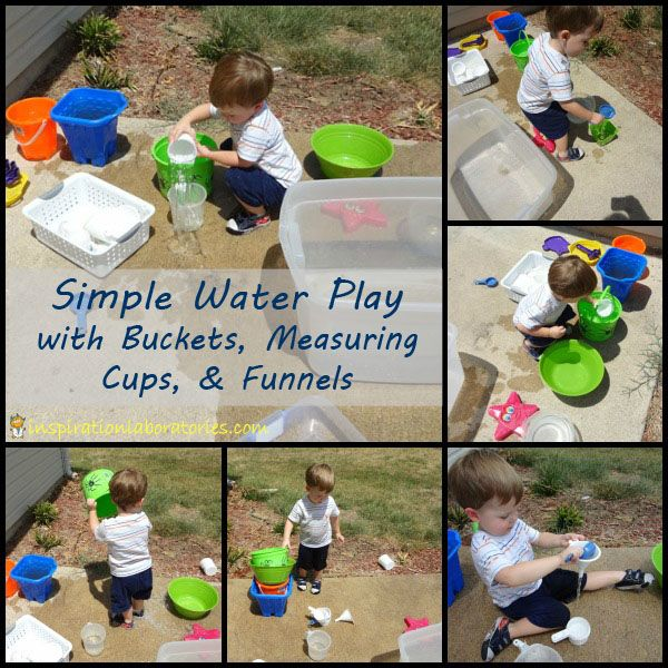 Simple Water Play with Buckets, Measuring Cups, and Funnels plus over 50 more ways to play outside with water!