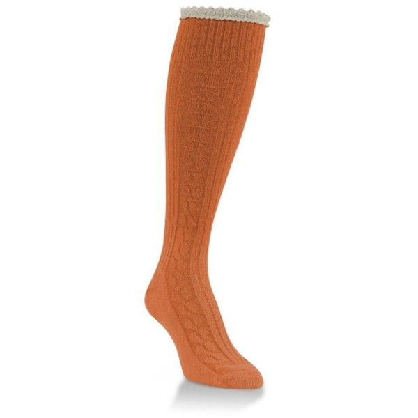 World's Softest Womens Weekend Collection Flirty Knee High Socks... ($16) ❤ liked on Polyvore featuring intimates, hosiery, socks, knee high socks, knee hi socks, orange knee socks, orange knee high socks and orange socks