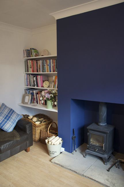 Gray Living Room With Fireplace: Farrow & Ball - Drawing Room Blue