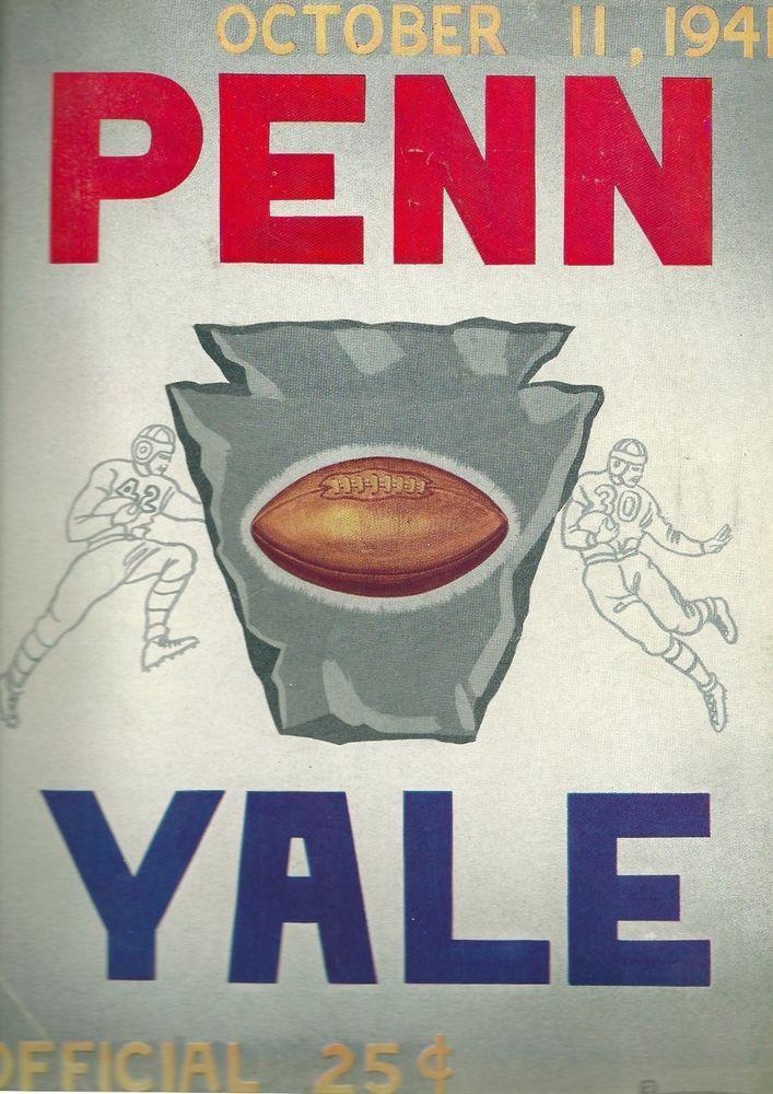 SOLD - PENN vs. YALE Football Program 1941 University Of Pennsylvania at Yale Bowl #YaleBulldogs