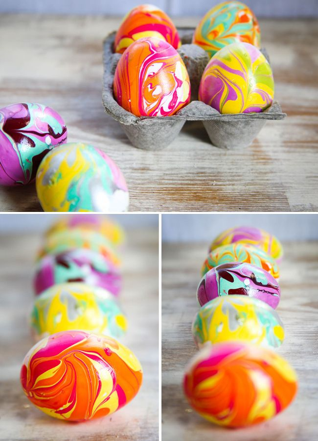 How to marble easter eggs with nail polish.  (I would blow them out first and use the eggs.  Then I would have a hole in the shell, and I'd stick a wire in it and I'd hold the wire to dip the egg.  I do not want nail polish all over my fingers!  Even if I wore gloves, wouldn't my fingers smudge it?)