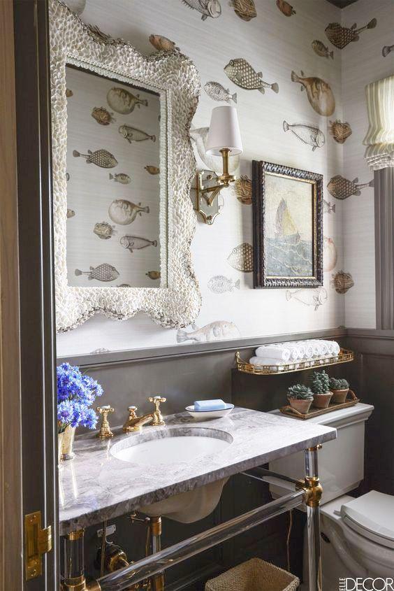 Cole & Son Acquario Wallpaper in Bathroom Bathroom