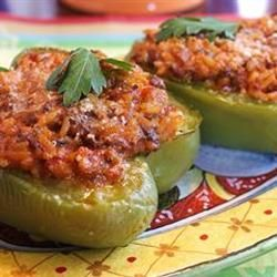 "Bolognese Stuffed Bell Peppers | ""A creamy, spicy meat and tomato ..."
