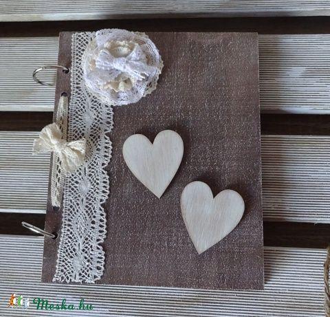 Vintage rusztikus esküvői vendégköny jókívánság könyv, Esküvő, Nászajándék, Esküvői dekoráció, Meghívó, ültetőkártya, köszönőajándék, Festett tárgyak, Mindenmás, Meska