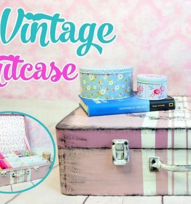 DIY vintage suitcase from cardboard - cardboard box storage // Vintage bőrönd karton papírból - tároló karton papír dobozokból // Mindy - craft tutorial collection