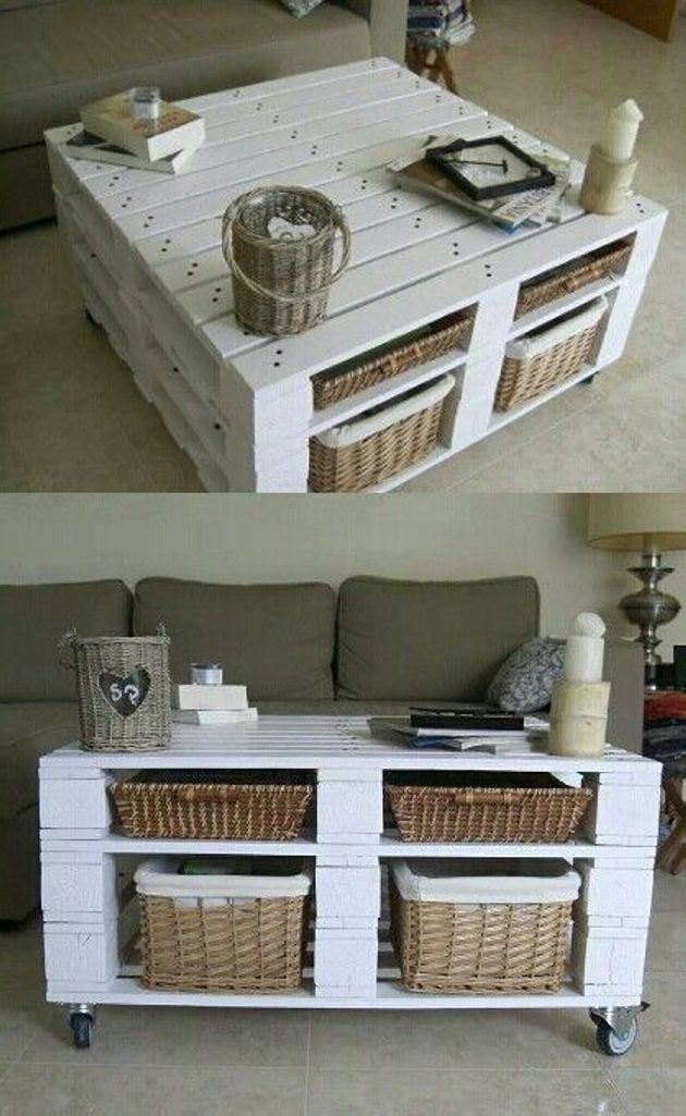 Absolutely it's a wonderful nice pallet coffee table with storage. It's a wide table having white color and four different compartments or like shelves on both side of this coffee table, where you can keep different types of stuff in these baskets. It upper surface is so broad that you can place decoration items alongside your coffee set.