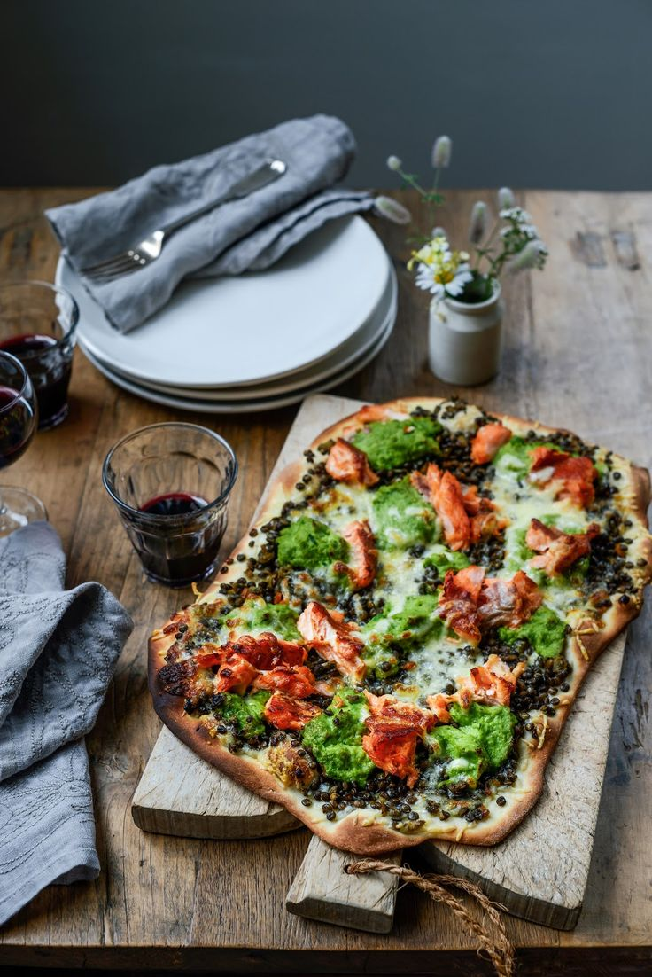 Pizza with Braised Lentils, Hot Smoked Salmon and Pea Puree