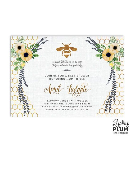 This party will be as sweet as honey and the mom to bee will love this modern gorgeous hand drawn watercolor design. Bees buzzing around yellow