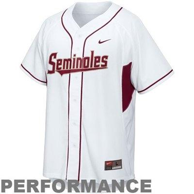 Nike Florida State Seminoles (FSU) White Performance Replica Baseball Jersey $60