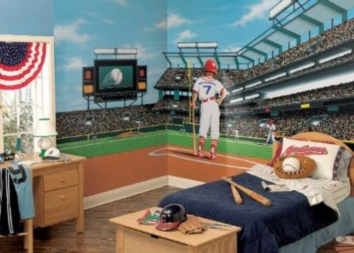 Boys sports room ideas boy teenage bedroom ideas with for Baseball stadium mural wallpaper