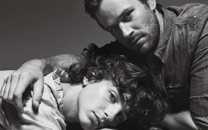 Download wallpapers Armie Hammer, Timothee Chalamet, American actors, black and white, monochrome