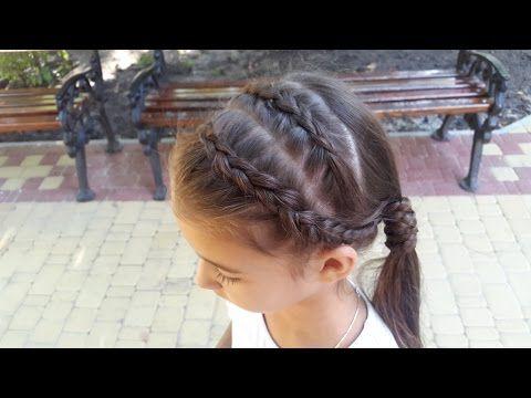 Две голландские косы вокруг хвоста + Ободок из кос // Dutch braids into ponytail - YouTube