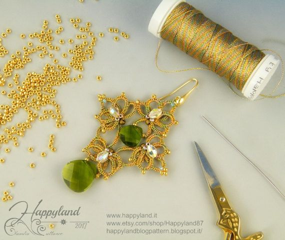 Needle tatting earrings, tutorial step by step by www.happyland.it