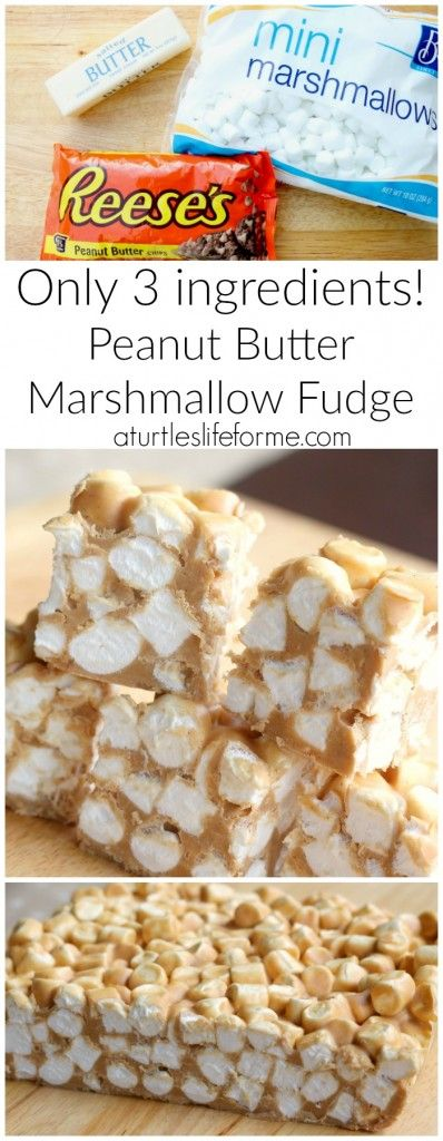 3-ingredient Peanut Butter Marshmallow Fudge! SO easy and SO good!
