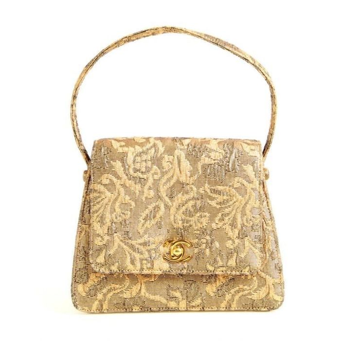 Chanel Gold Brocade Top Handle Flap Bag #CHANEL #EveningBag