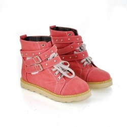 Casual Women's Combat Boots With Vintage Solid Color Flat Heel Belts Lace-Up Studs Design