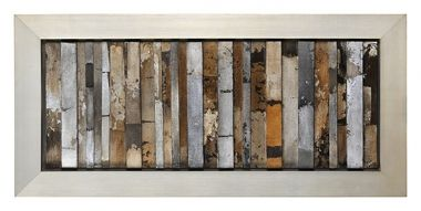 This unique piece features hand-painted canvas strips covered with high gloss, is set on multiple levels of wood panels, and framed with a sophisticated silver frame.