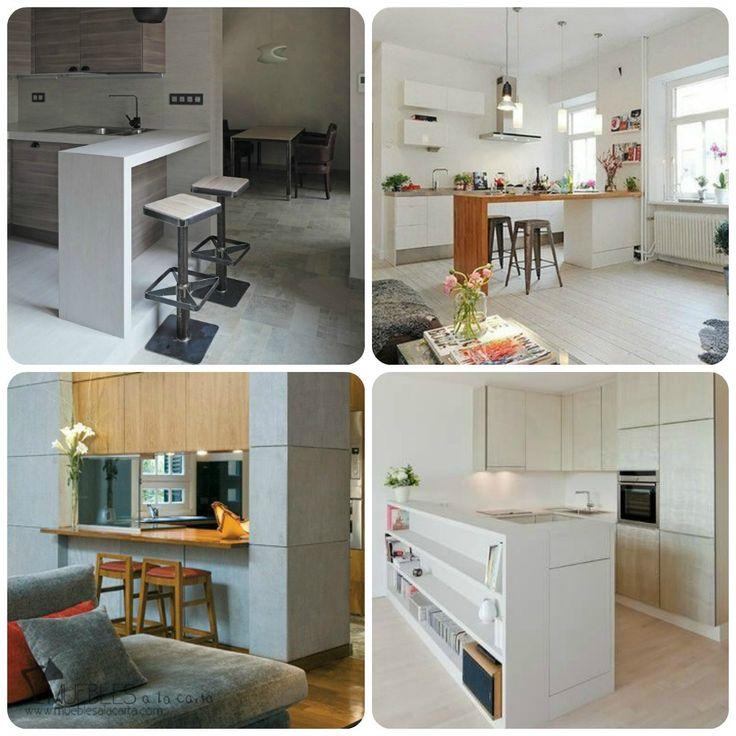 Cocina abierta con barra i residential kitchens for Ideas diseno cocina