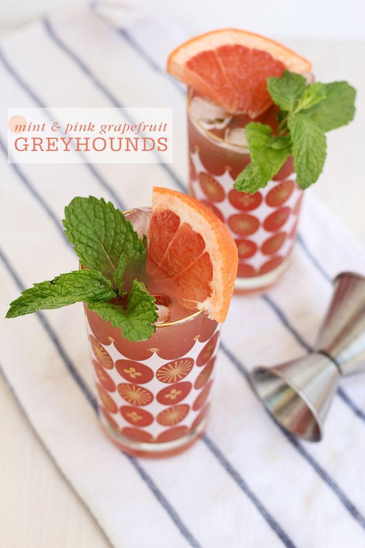 Mint & Pink Grapefruit Greyhounds #cocktails #greyhound #grapefruit