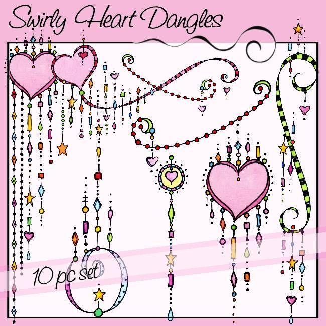Swirly Heart Dangles