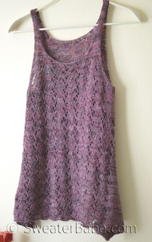 Falling with Grace Tank. A nice knit to transition to warmer weather! Knits up beautifully in Madelinetosh Tosh Merino Light yarn. Only 2 hanks needed for smallest size.