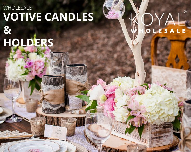 Wholesale DIY votive candles in bulk,  bulk wedding supplies, table centerpieces, event centerpieces and floral decorations on sale  FREE SHIPPING on $99+  Koyal Wholesale is the destination for DIY brides, event planners, and florists looking for wholesale wedding and event supplies, ideas, and decorations  Long burn high quality bulk pillar candles, bulk floating candles, bulk votive candles, bulk taper candles at wholesale pricing for DIY brides and event planners