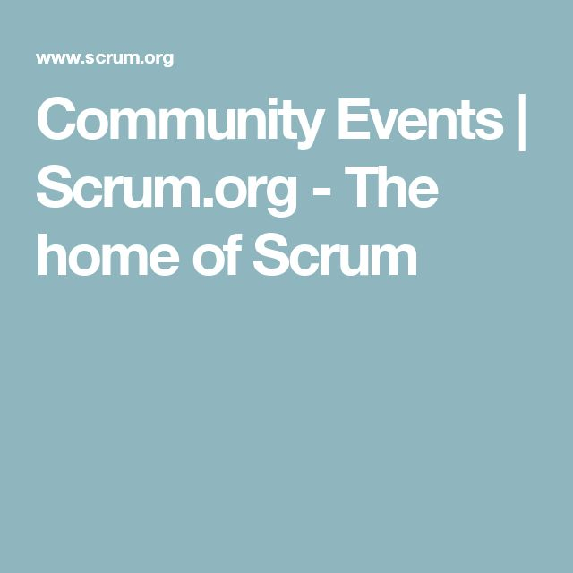 Community Events | Scrum.org - The home of Scrum