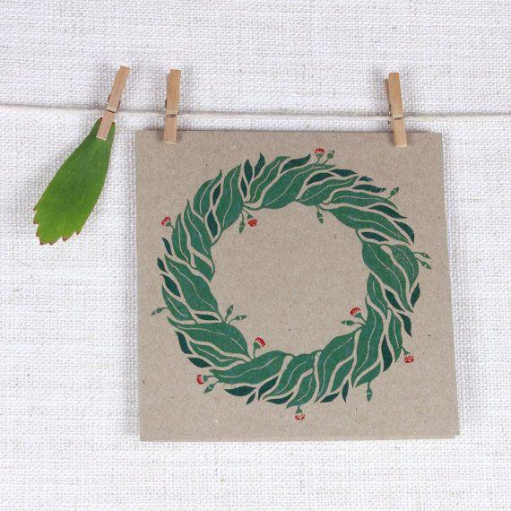 Recycled Christmas Greeting card with Australian Eucalyptus wreath design #christmas #wreath #greeting #card #eucalyptus