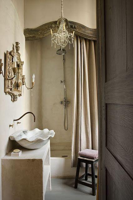 Wood idea that hides shower curtain rod! GORGEOUS bathroom colour scheme! How decadent!!