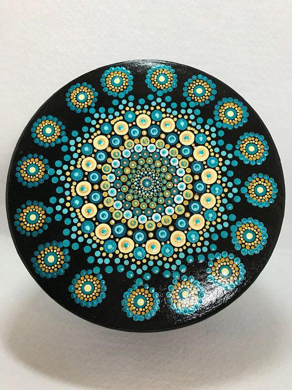 Original Mandala Painting on Hat box Dotilism Dot Painting