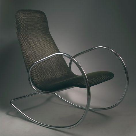Ulrich Böhme; Chromed Tubular Metal Rocking Chair For Thonet, 1971.