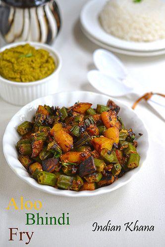 Aloo Bhindi Bhujiya (Fry) | How to make Aloo Bhindi Sabzi | Side dish for Paratha ~ Indian Khana