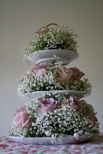 Final centrepiece idea - to be tied in with small one tier versions (or even tea cup ones) along the top table