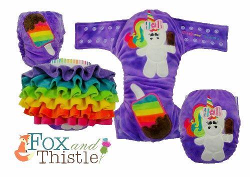 Fox and Thistle OSFM Rufflebum Detachable ruffle Modern cloth nappy Modern cloth diaper