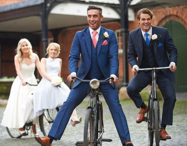 Royal Blue And Navy Mens 3 Piece Wedding Lounge Suits Paired With C Aqua Ties