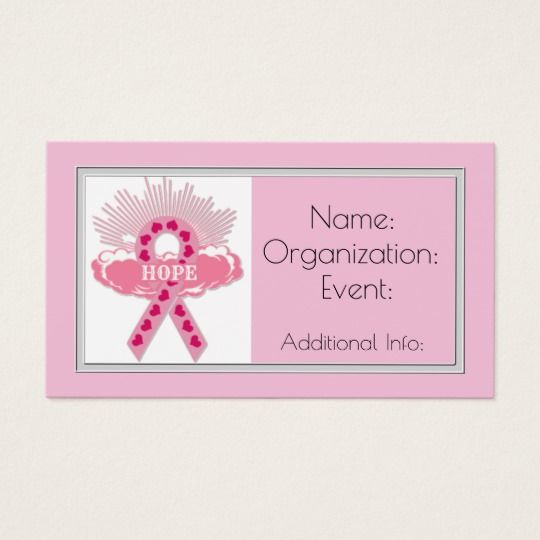 Hope Pink Ribbon Business Card