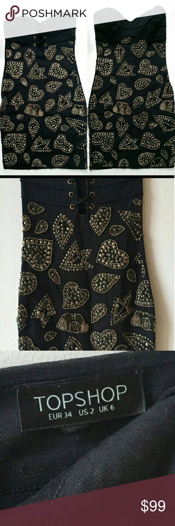 ⤵⤵ TOPSHOP Gold Studs Black Dress Sale! Final Sale Huge Sale!! Ready for a loving home! TOPSHOP Gold Studs Black Dress Sale!Beautiful Gorgeous heavy knit dress. Side zipper. Overall good condition. Still stunning and sexy. Missing stud behind the dress pls take notes picture #4 and it's not obvious at all when you wearing it. Can be fixed up to new owner. Final Sale Item No return please raise question to avoid unnecessary return please.Size 2. Please run your research make sure it fits u…