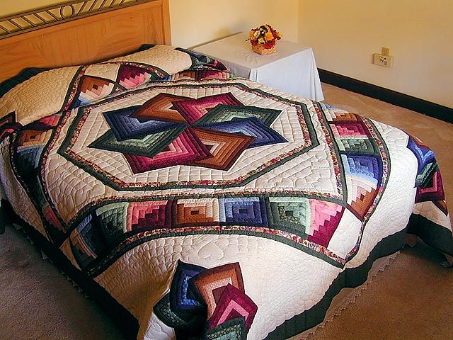 I love absolutely EVERYTHING about this quilt.  The colors, the pattern, everything.  Now I will just have to figure out the measurements for a king size bed.