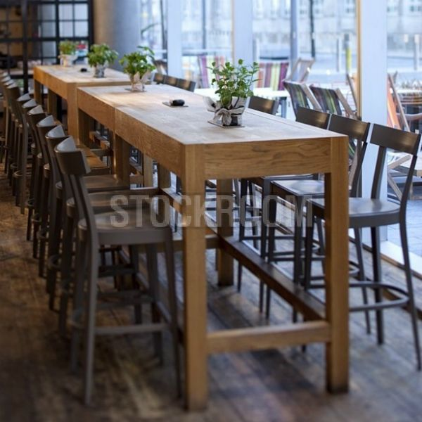 high wooden bar tables