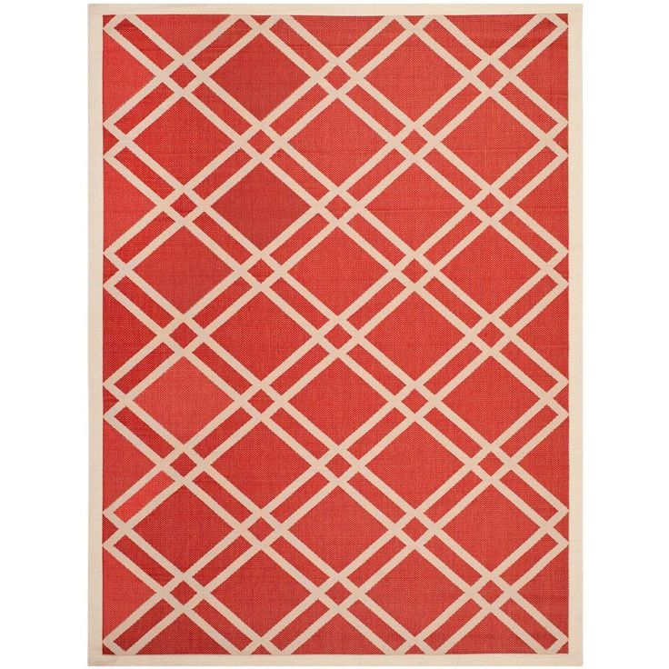 Courtyard Red/Bone (Red/Ivory) 5 ft. 3 in. x 7 ft. 7 in. Indoor/Outdoor Area Rug