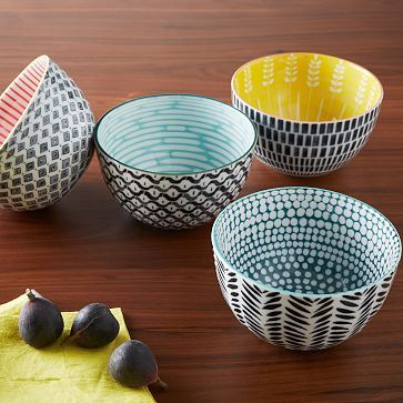 Mid-Century Printed Bowls #westelm $14 each -- want 6 -- Maybe mix w other printed bowls?
