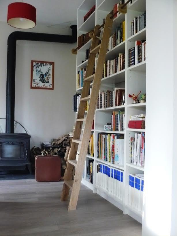 Les 25 meilleures id es de la cat gorie chelle de - Meuble bibliotheque avec echelle ...