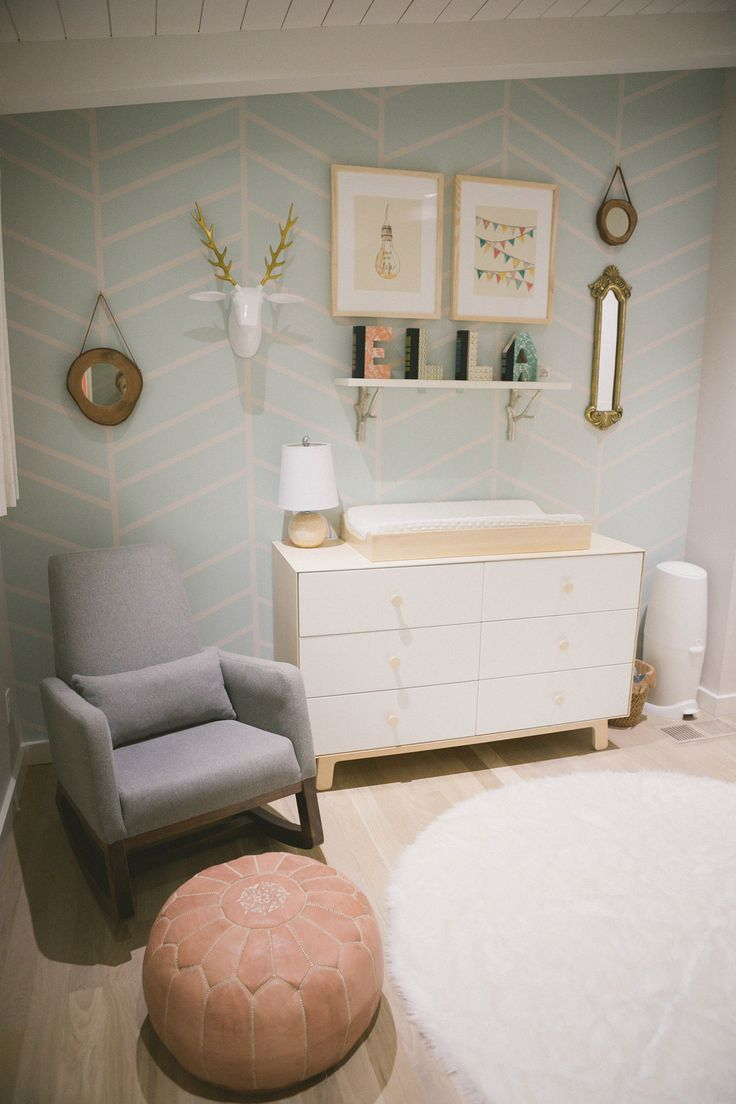 Modern nursery with subtle woodland touches...love this palette. I'm not pregnant. I just think this is beautiful :)