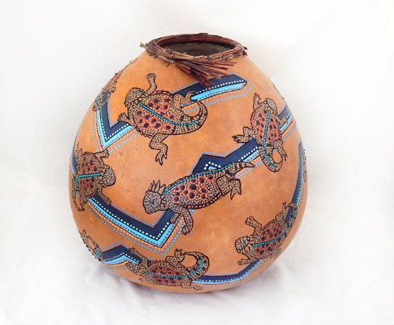 Horned lizards gourd bowl 1405 by MesquiteGourds on Etsy